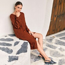 Split Hem Rib-knit Solid Dress