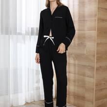 Conjunto de pijama con cordon delantero de cuello con solapa