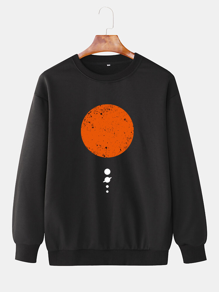 Mens Cotton Relaxed Fit Solid Pullover Sweatshirts With Red Planet Chest Print