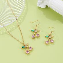 3pcs Girls Rhinestone Decor Cherry Charm Jewelry Set