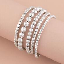 Set Of Five Variety Size Beads Stretchy Bracelet