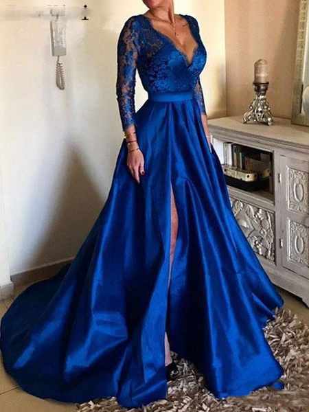 Milanoo Evening Dress Ball Gown V Neck 3/4 Length Sleeves Zipper Lace Satin Fabric Social Party Dresses With Train