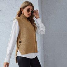 Pullover Weste mit seitlichen Knopfen ohne Bluse