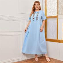 Plus Graphic Embroidery Buttoned Tent Dress