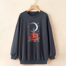 Sweatshirt mit Halloween & Galaxie Muster