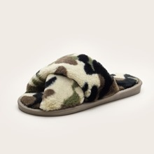 Camo Print Criss Cross Fluffy Slippers