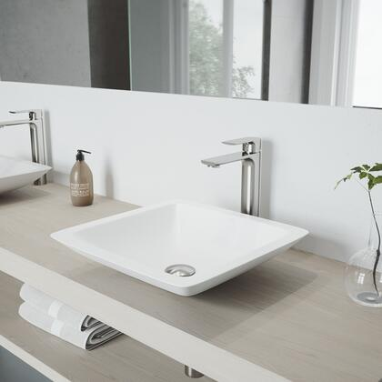 VGT1278 Begonia Matte Stone Vessel Bathroom Sink with Norfolk Faucet in a Brushed Nickel Finish  Pop-Up Drain