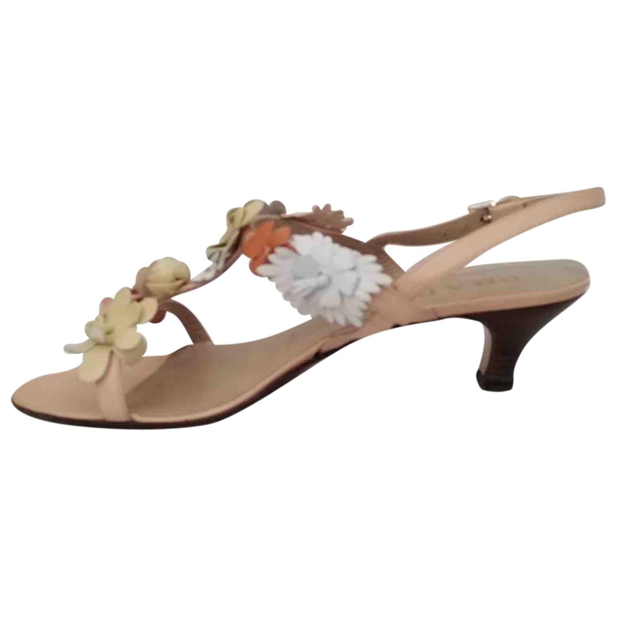 Prada \N Pink Leather Sandals for Women 38.5 EU