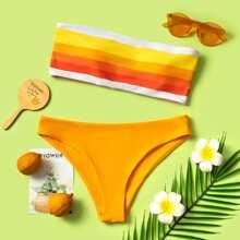 Colorful Striped Bandeau Bikini Swimsuit