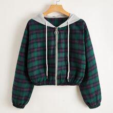 Plaid Zip Up Crop Jacket