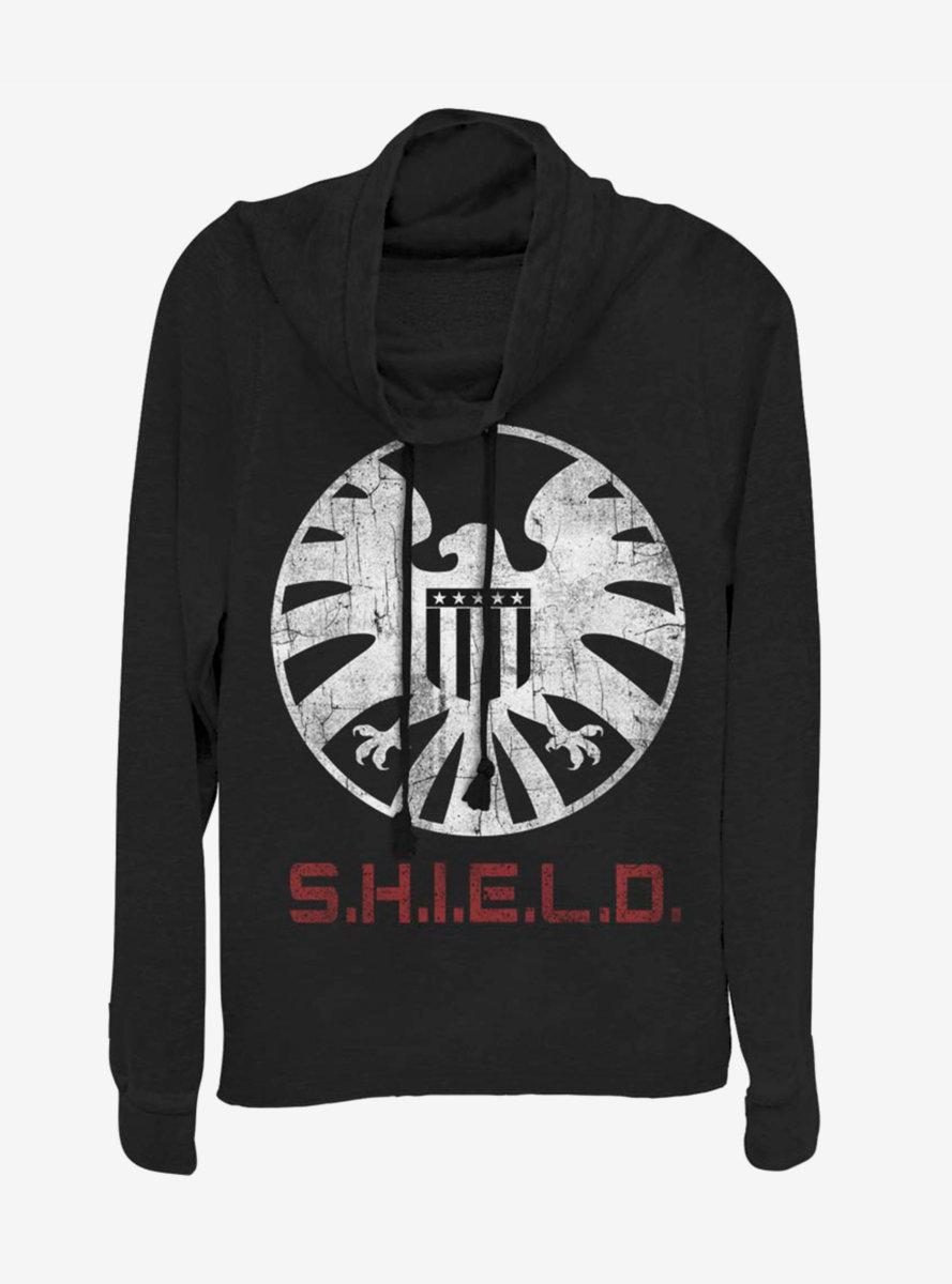 Marvel Avengers Shield Branding Cowlneck Long-Sleeve Womens Top