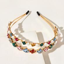 Diadema con diseño de perla artificial grabada con diamante de imitacion