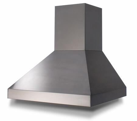 BSPC54240TS 54 Wall Mount Pyramid Chimney Range Hood with 3 Speed Fan  Baffle Filters  and Hidden Control Knobs (Blowers Sold