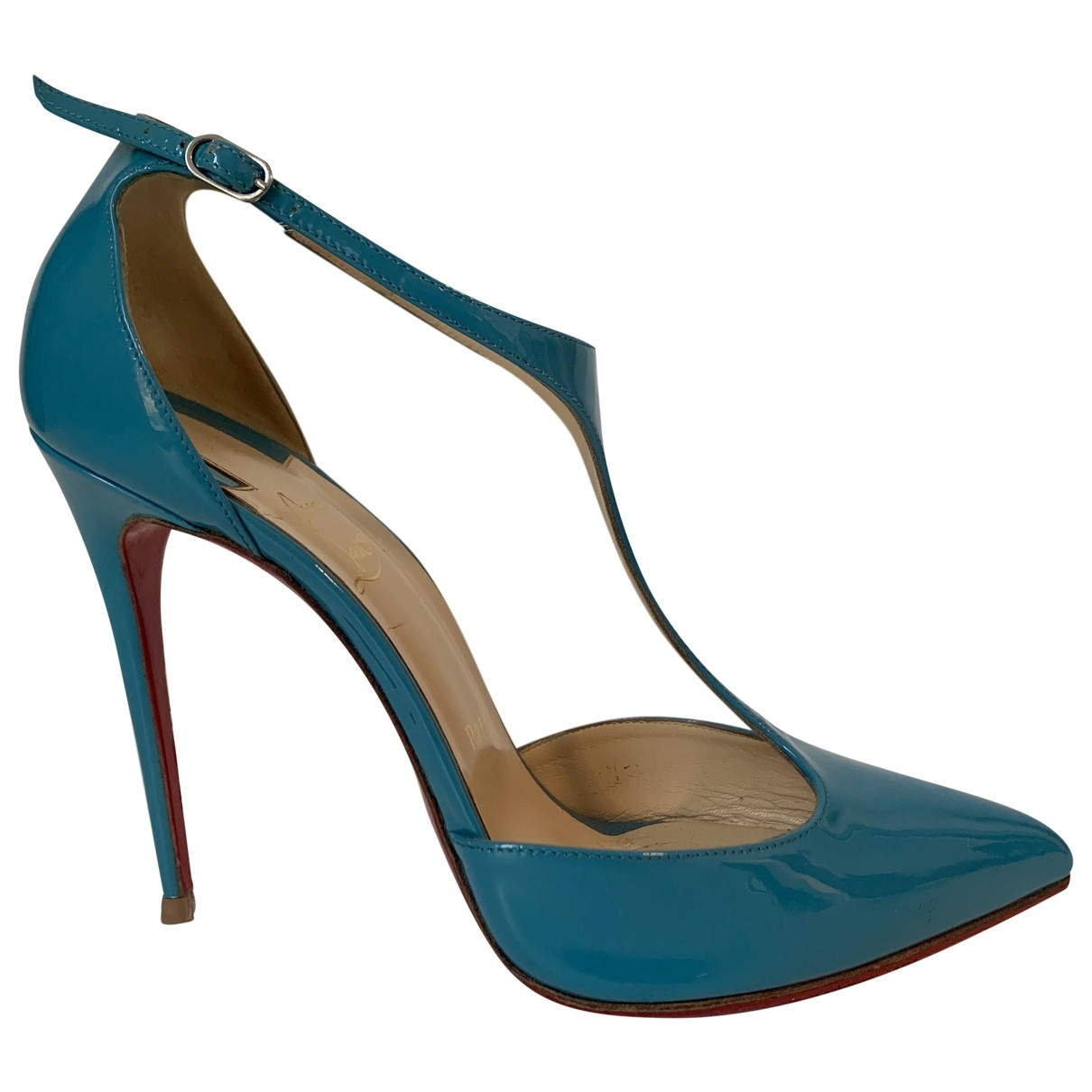 Christian Louboutin \N Blue Patent leather Heels for Women 39 EU