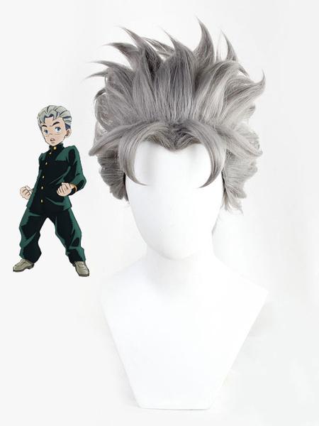 Milanoo JoJos Bizarre Adventure Diamond Is Unbreakable Koichi Hirose Grey Cosplay Wig