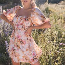 Square Neck Puff Sleeve Crinkle Panel Floral Dress
