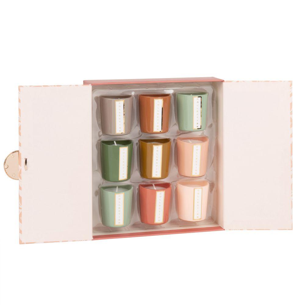 Set  Kerzen-Laempchen (x9) aus gemustertem Glas