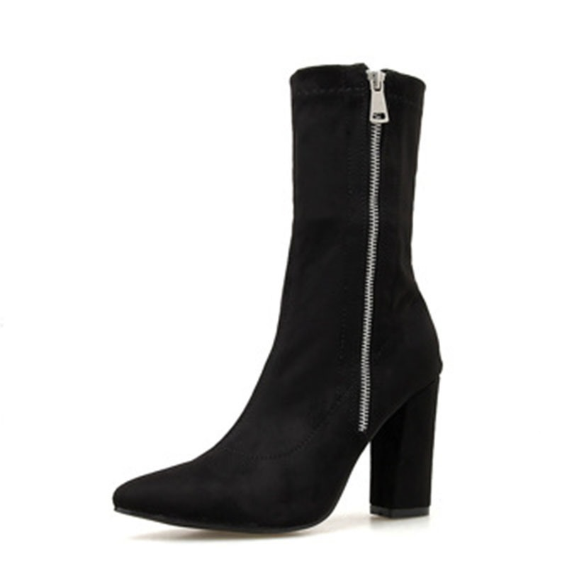 Ericdress Plain Chunky Heel Side Zipper Ankle Boots