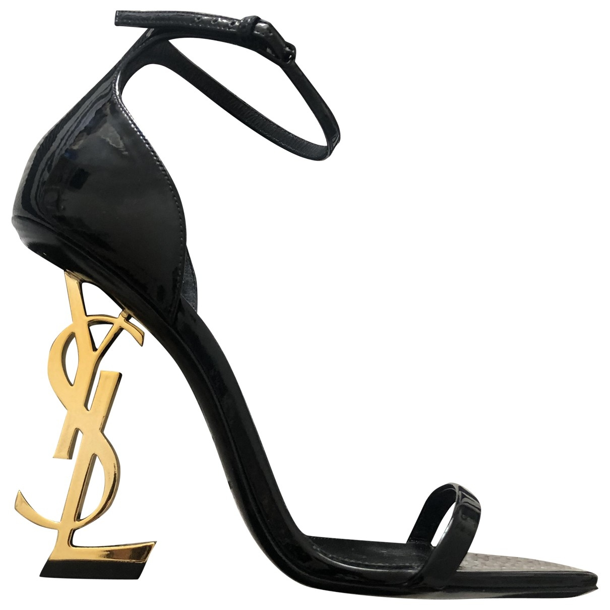 Saint Laurent Opyum Black Leather Sandals for Women 36.5 EU