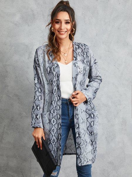 YOINS Grey Snakeskin Long Sleeves Pocket design Cardigan