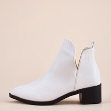 Snakeskin Embossed Chunky Heeled Ankle Boots