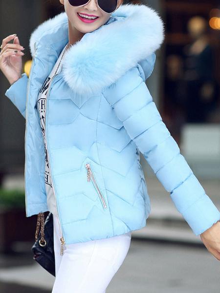 Milanoo Puffer Coats White Embellished Collar Faux Fur Zipper Long Sleeves Outerwear