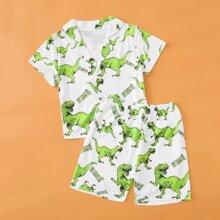 Schlafanzug Set mit Dinosaurier und Buchstaben Grafik
