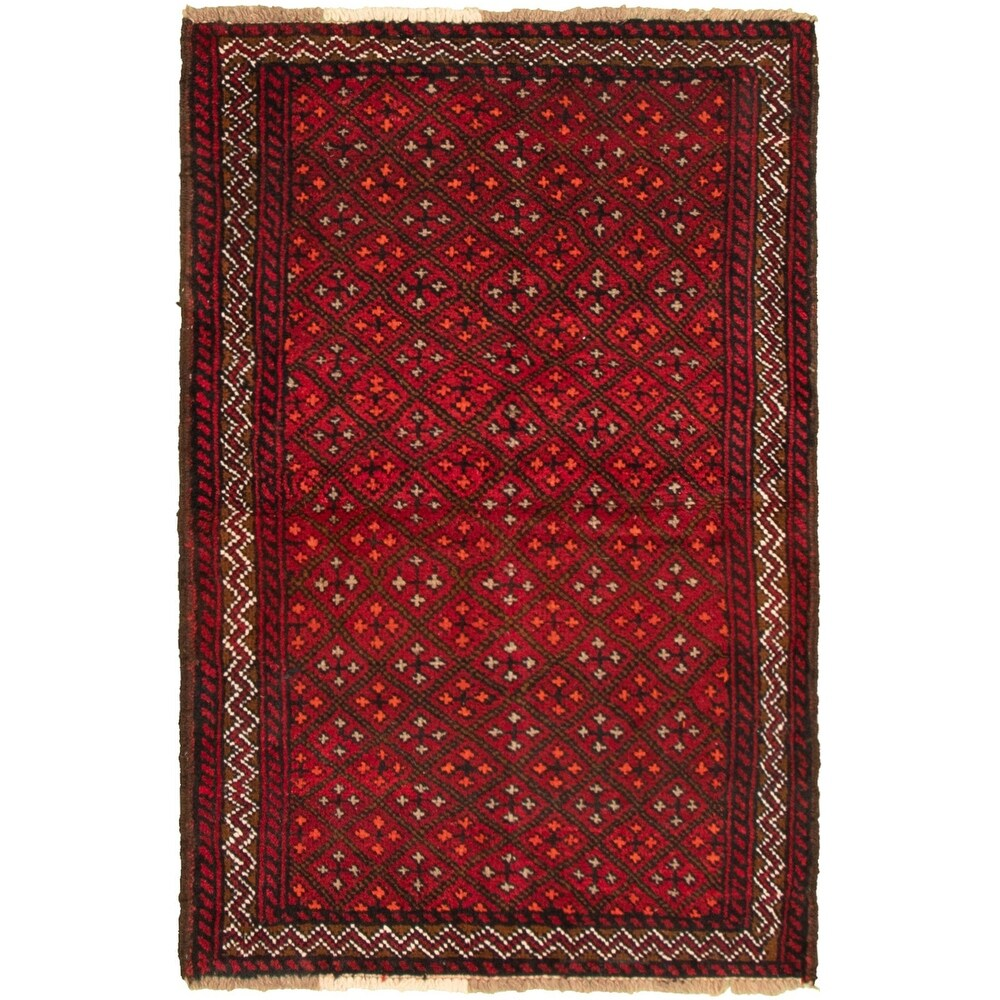 ECARPETGALLERY Hand-knotted Akhjah Red Wool Rug - 3'3 x 5'5 (Red - 3'3 x 5'5)
