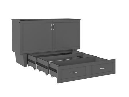 AC634149 Monroe Murphy Bed Chest Queen Atlantic Grey with Charging Station and