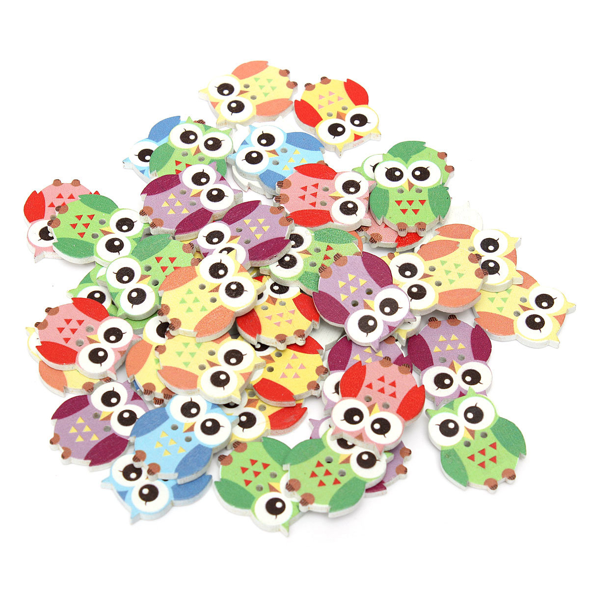 50Pcs Multicolor Owl Animal Wooden Buttons 2 Holes Sewing Scrapbooking Material