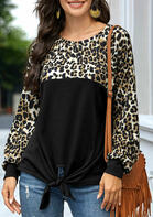 Leopard Color Block Tie Long Sleeve Blouse