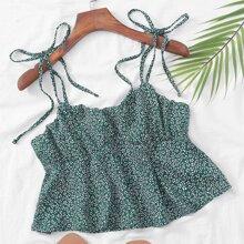 Cami Top mit Bluemchen Muster und Knoten