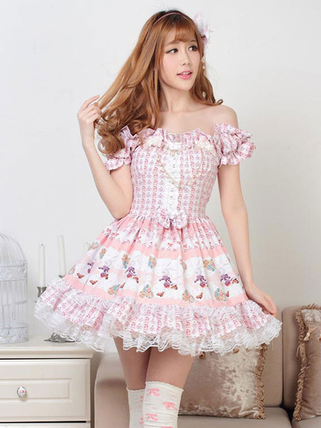 Milanoo Classic Lolita OP Dress Printed Pink Lace Bows Lolita One Piece Dresses