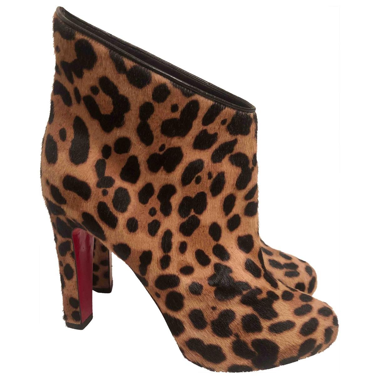 Christian Louboutin Suzy Folk Beige Pony-style calfskin Ankle boots for Women 37 EU