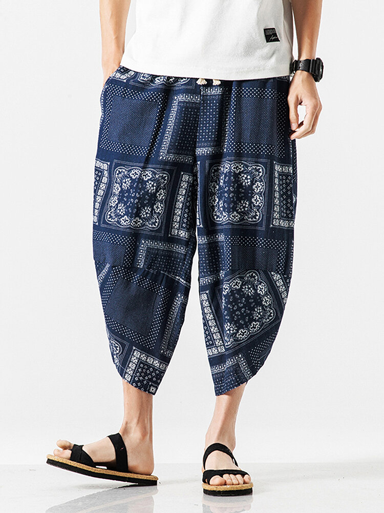 Mens Ethnic Style Casual Breathable Drawstring Waist Harem Pants