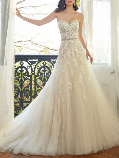 Milanoo Wedding Dresses 2020 Tulle A Line Sweetheat Neck Sleeveless Floor Length Lace Appliqued Bridal Gowns With Train