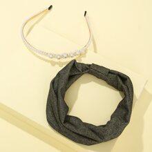 2 Stuecke Haarreif mit Kunstperlen & Stirnband