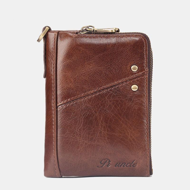 Men Genuine Leather RFID Blocking 13 Card Slots Coin Purse Vintage Wallet