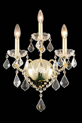 V2015W3G/SA 2015 St. Francis Collection Wall Sconce D:13In H:17In E:8In Lt:3 Gold Finish (Spectra   Swarovski