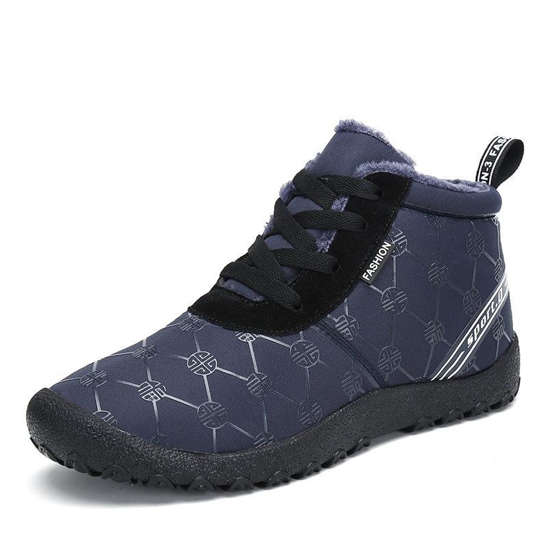 Men Waterproof Fabric Non Slip Plush Lining Soft Sole Casual Boots