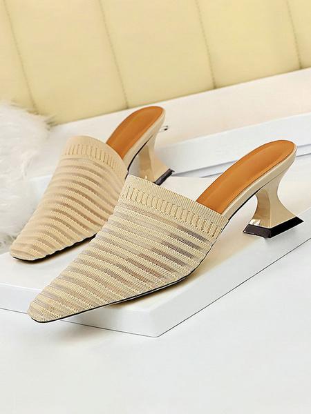 Milanoo Women Mules White Pointed Toe Mid Heel Slip On Slide Shoes