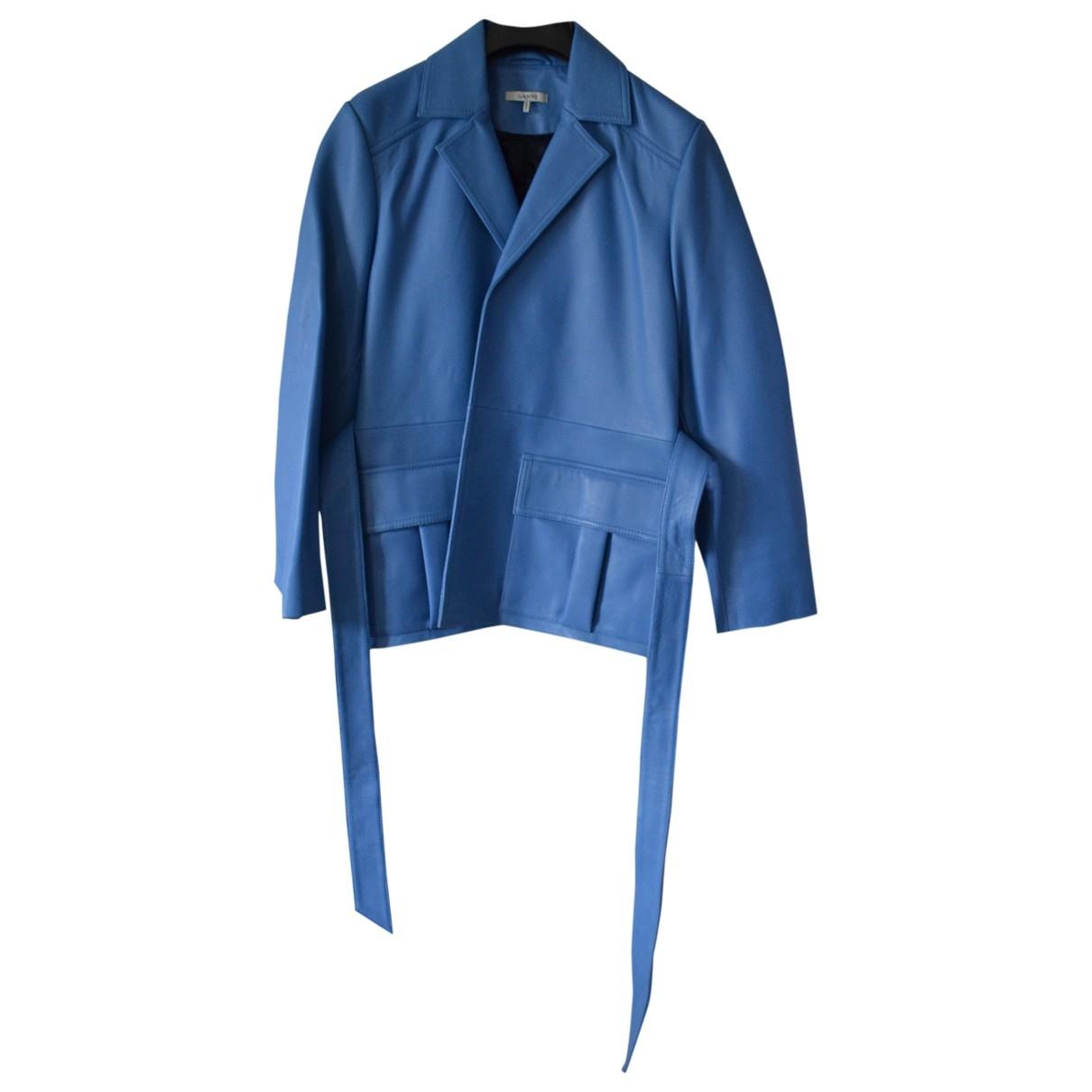 Ganni - Veste   pour femme en cuir - bleu
