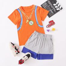 Boys Graphic Print Tee & Color-block Shorts