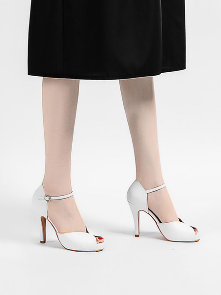 Milanoo Peep Toe Shoes Stiletto Heel Metal Details Simple Slip-On Ankle Strap Sandals
