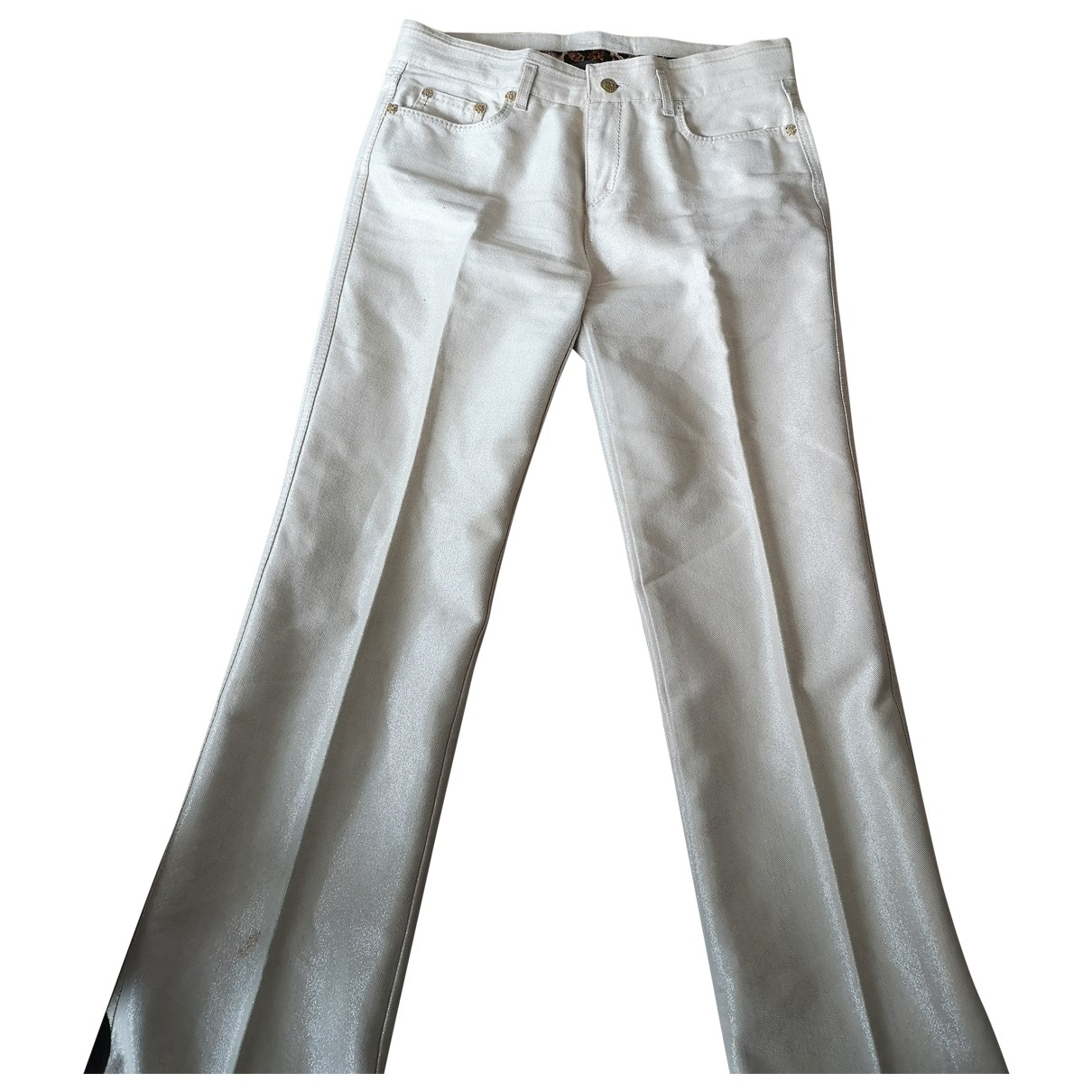Roberto Cavalli \N Gold Cotton Trousers for Women 44 IT