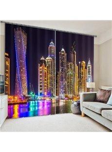 3D Wonderful City Night Scenery Printed Polyester Modern Style Dust-Proof Custom Curtain