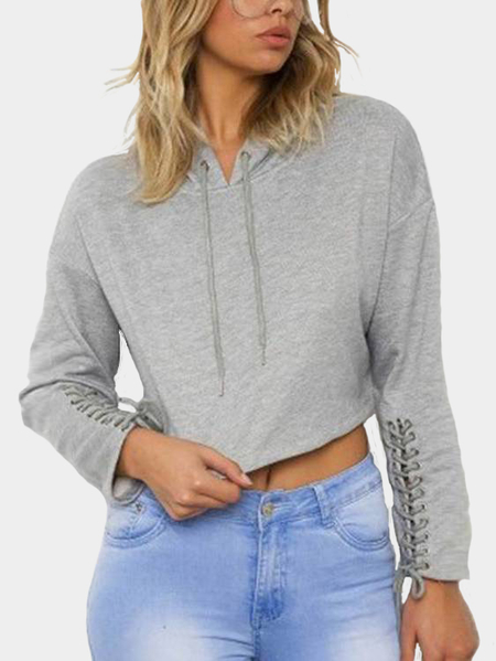Yoins Grey Hooded Design Long Sleeves Cropped Hoodie