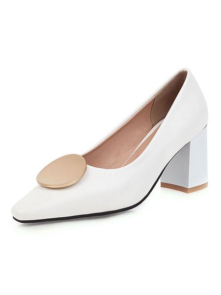 Milanoo Zapatos de salon con tacon de bloque Mujer Negro Punta cuadrada Detalle de metal Resbalon en los talones