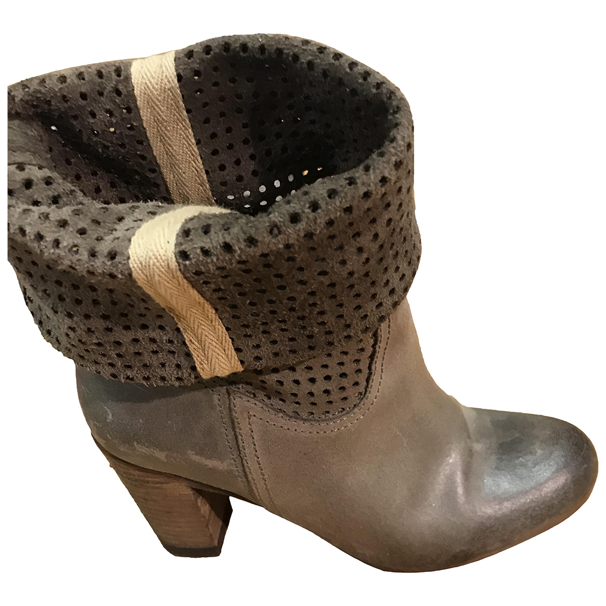 Ikks - Boots   pour femme en cuir - gris