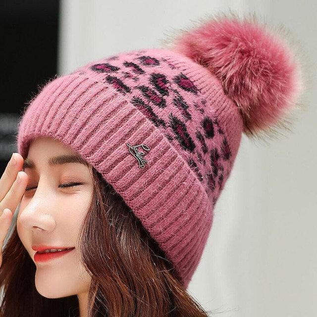 Knit Wool Hat Beanies Cap Warm Thickening Earmuffs Caps
